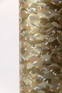 Drum Lamp Shade - W03 ~ Gold Waves on Greys, 20cm(d) x 20cm(h)