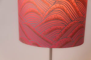 Oval Lamp Shade - W04 - Pink Hills with Gold Flowers, 20cm(w) x 20cm(h) x 13cm(d) - Imbue Lighting