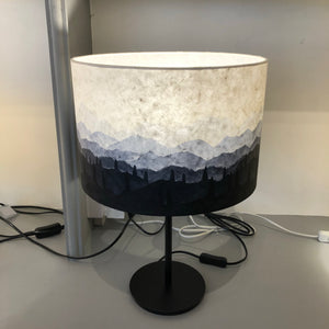 Ink sketch lampshade(blues) 30cm x 20cm(h) on round black stem base