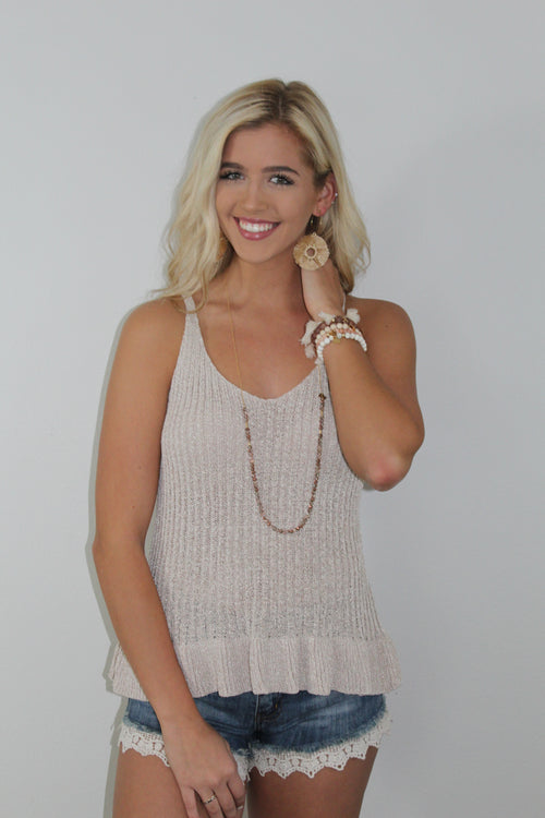 Taupe Ruffle Bottom Tank