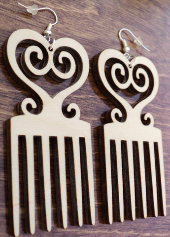 Adinkra Sankofa Afro Pick Earrings