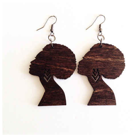 Afro Woman Silhouette Earrings