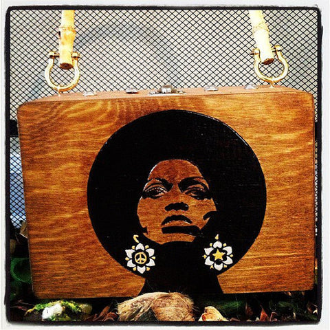 Afro Woman Wood Burn Purse