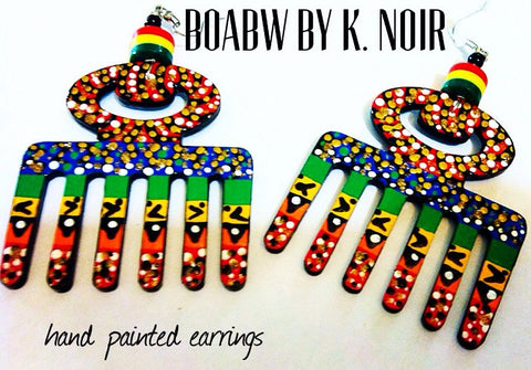 Hand Painted Adinkra Duafe Earrings