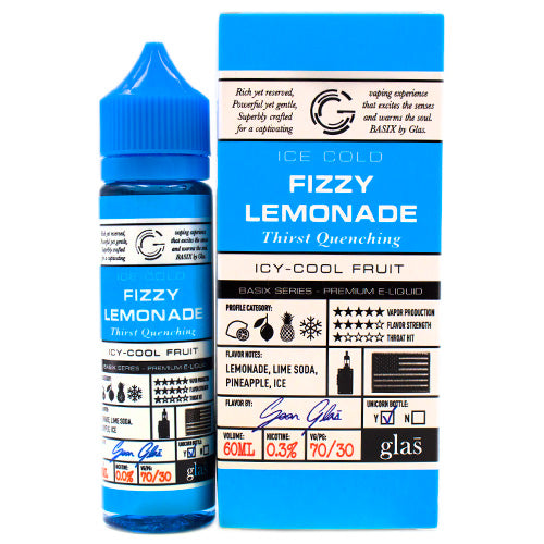 Fizzy Lemonade by Glas Basix E-Liquid 60ml- cuttwood, juice roll upz, Vapetasia, VGOD, Vapor Juice