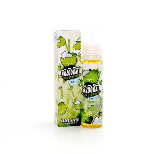Green Apple Sour Straws on Ice by Bazooka Vape 100ml- cuttwood, juice roll upz, Vapetasia, VGOD, Vapor Juice