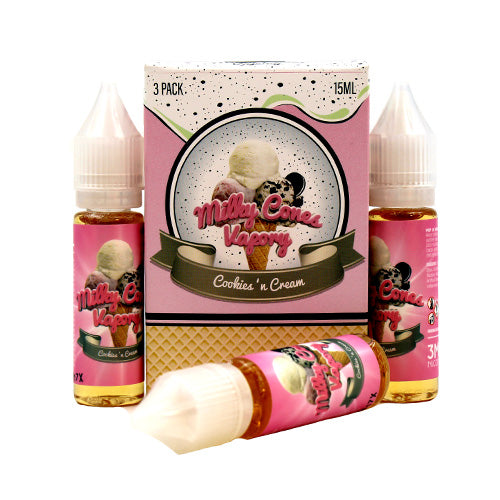Cookies 'N Cream by Milky Cones Vapory E-Juice 45ml- cuttwood, juice roll upz, Vapetasia, VGOD, Vapor Juice