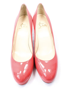 Christian Louboutin coral patent leather simple 120mm pumps size 39.5 - My Girlfriend's Wardrobe York Pa