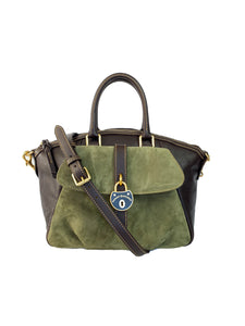 Dooney & Bourke brown and olive leather lockwood satchel