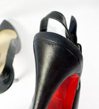 Christian Louboutin black leather slingback pumps size 39 AS IS