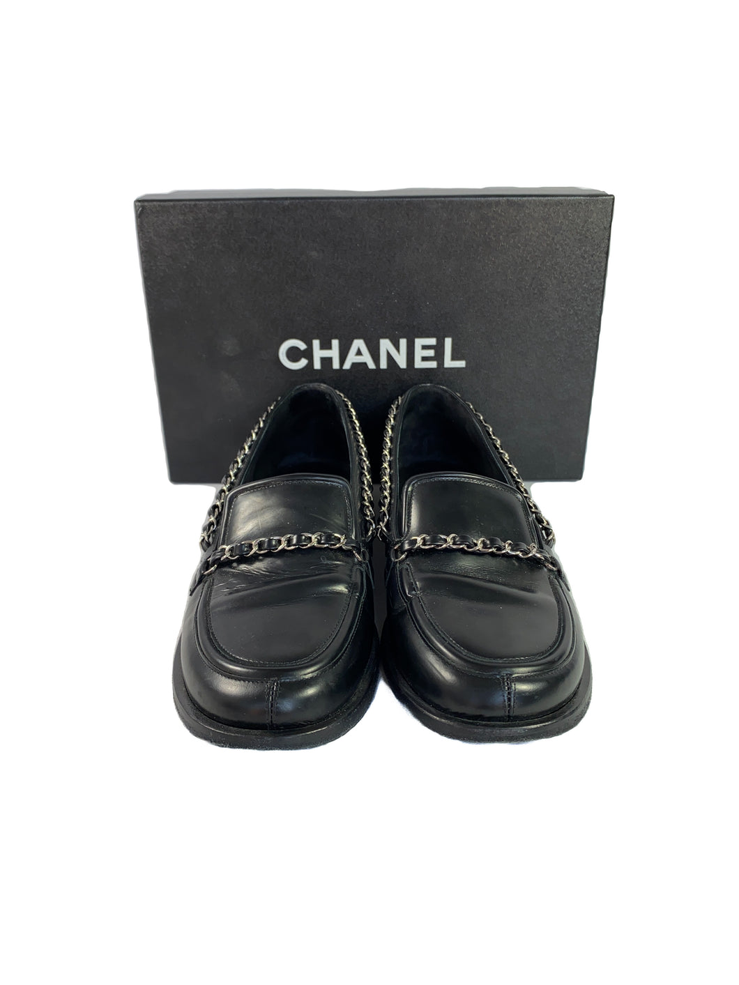 Chanel black leather chain loafers size 39