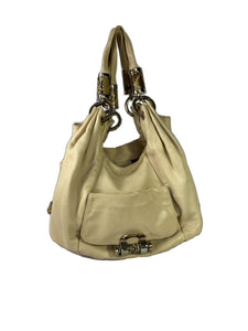 Michael Kors cream leather & snake print shoulder bag