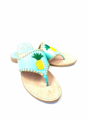 Jack Rogers blue pineapple leather thong sandal size 8 - My Girlfriend's Wardrobe York Pa