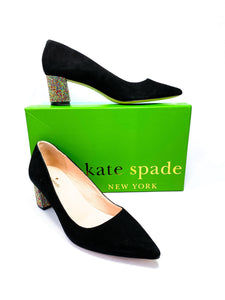 Kate Spade Milan black suede pumps size 8.5 - My Girlfriend's Wardrobe York Pa