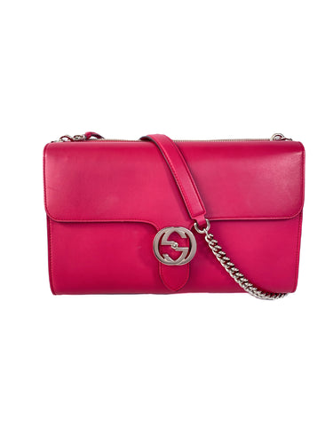 Gucci hot pink leather interlocking G bag