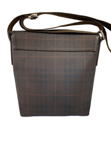 Burberry brown plaid coated canvas messenger bag - My Girlfriend's Wardrobe LLC