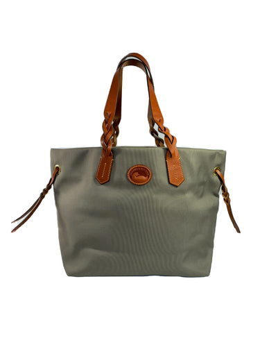 Dooney & Bourke gray olive nylon shopper tote NWOT