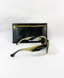 Balenciaga black and yellow sunglasses BA0011