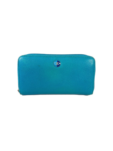 Chanel kokomaku blue leather zip around wallet