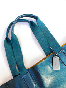 Coach large Derby hologram teal leather tote F59388 - My Girlfriend's Wardrobe York Pa