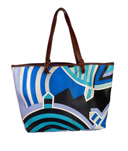 Emilio Pucci multi color coated canvas tote