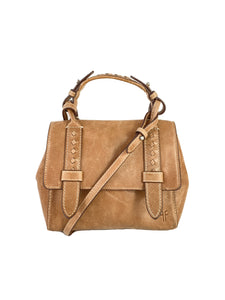 Frye tan leather reed mini satchel