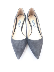 Prada gray suede kitten heel size 37.5 - My Girlfriend's Wardrobe York Pa