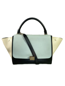 Celine blue, cream, and black tricolor trapeze shoulder bag