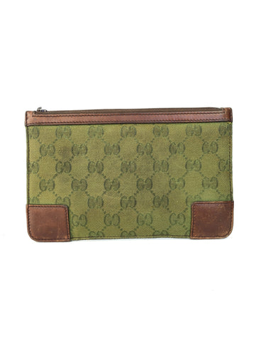 Gucci green and brown signature zip pouch AS IS