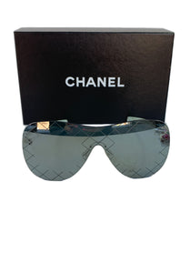 Chanel runway shield sunglasses silver L2747