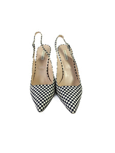 Dries Van Noten black and white check slingback pumps size 39