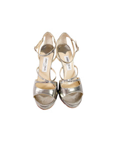 Jimmy Choo silver metallic strappy pumps size 39