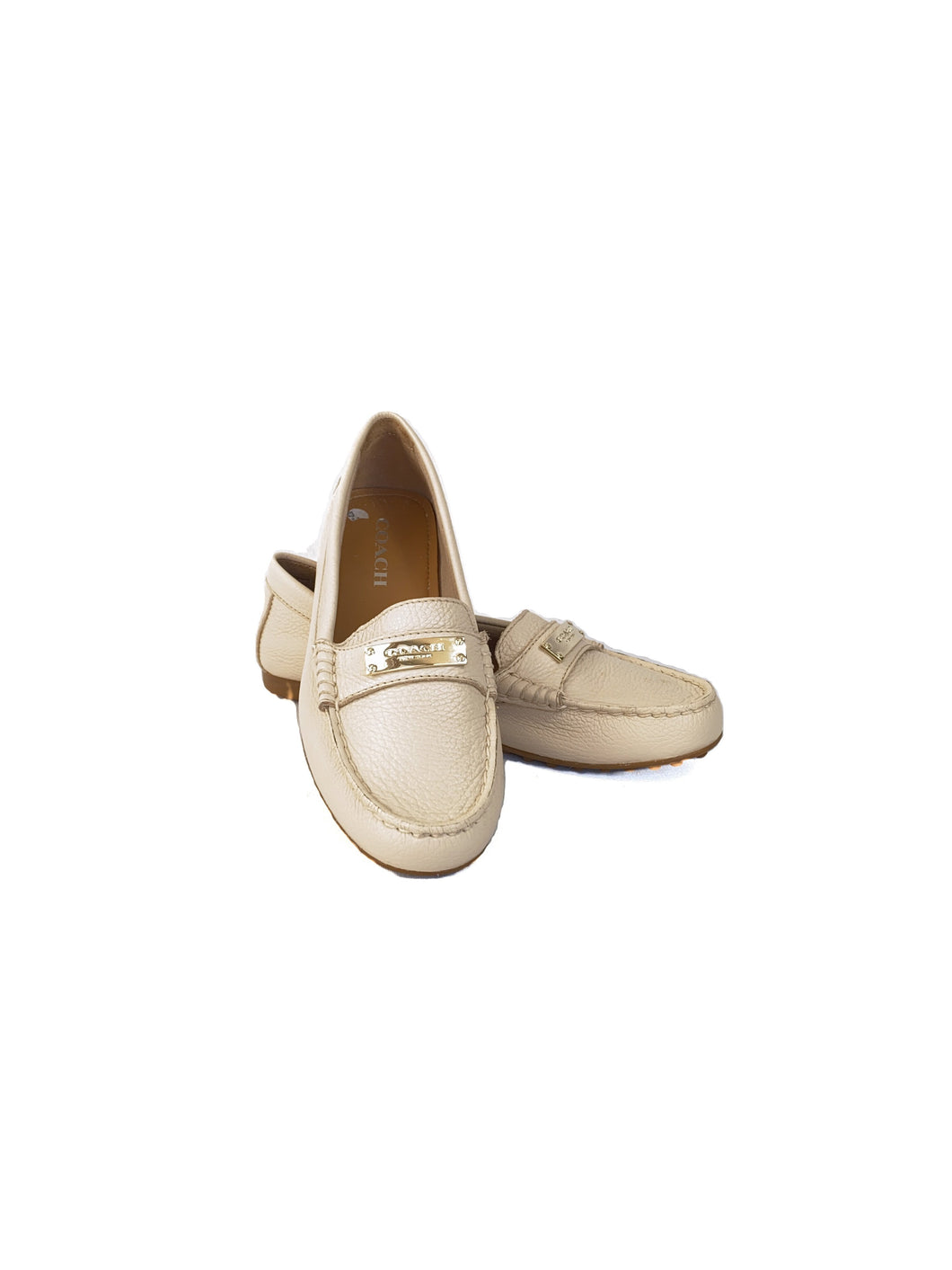 Coach cream leather loafers size 6.5
