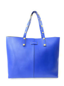 Versace royal blue medusa stud tote - My Girlfriend's Wardrobe York Pa