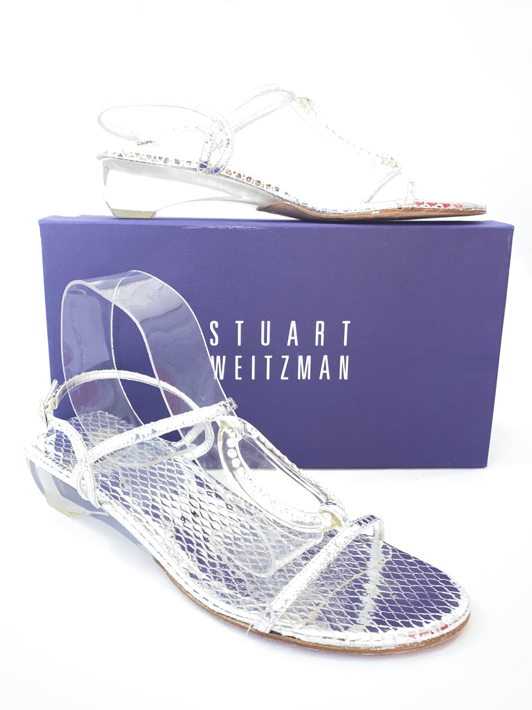 Stuart Weitzman silver and clear sandals size 9 - My Girlfriend's Wardrobe York Pa