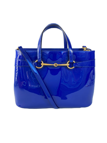 Gucci Patent Medium Bright Bit Blue Sapphire Top Handle Tote
