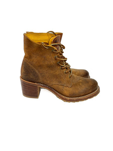 Frye brown distressed heeled ankle boots size 8
