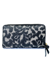 Tory Burch black lace print zip around wallet - My Girlfriend's Wardrobe York Pa