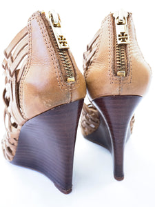 Tory Burch brown leather woven wedges size 6.5 - My Girlfriend's Wardrobe York Pa