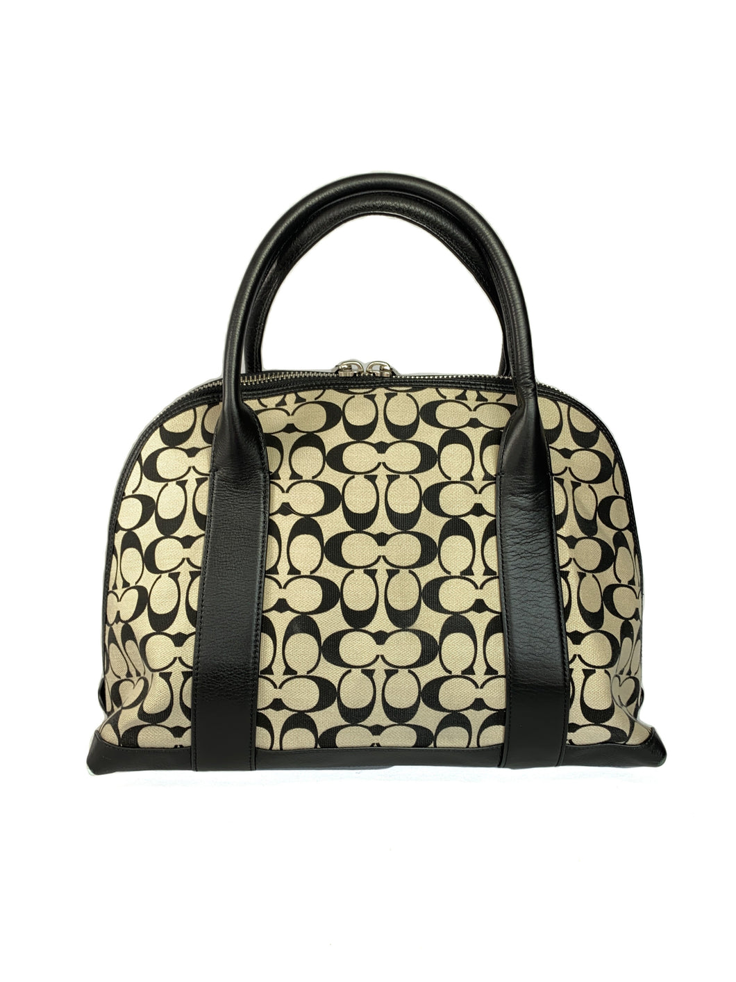 Coach khaki and black Bleecker Preston domed satchel 30160 - My Girlfriend's Wardrobe LLC
