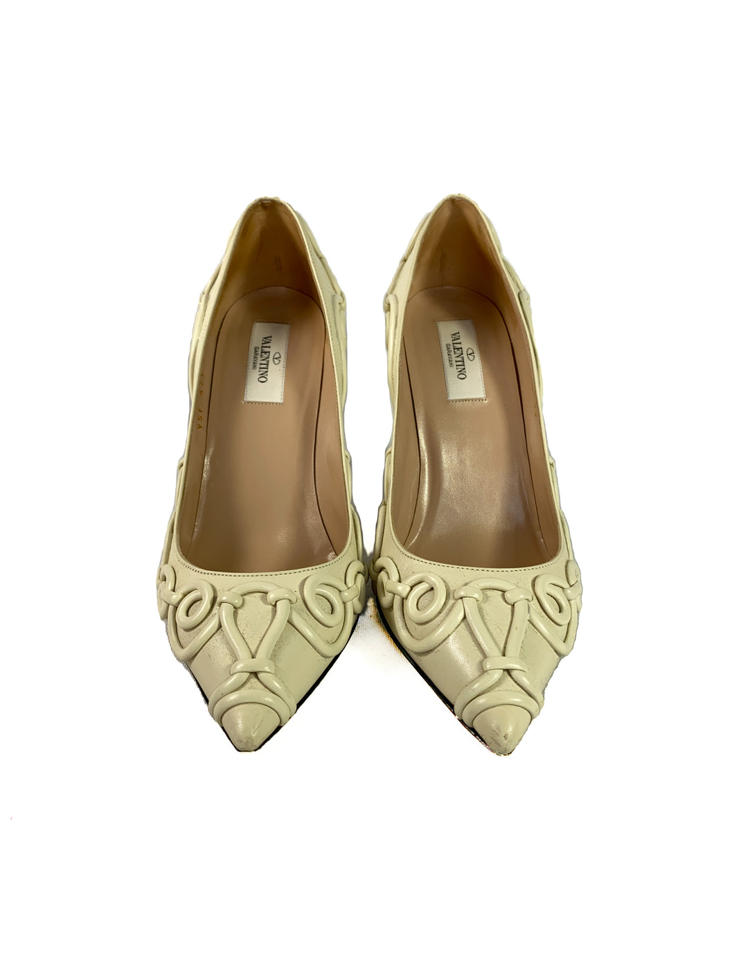 Valentino cream leather swirl pumps size 39 BOX