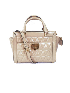 Michael Kors nude quilted patent leather crossbody