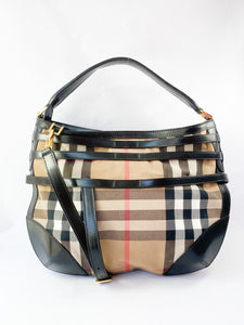 Burberry nova check cloth and leather shoulder bag - My Girlfriend's Wardrobe LLC