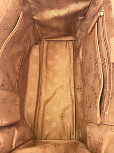 Tory Burch brown leather and cloth tote bag - My Girlfriend's Wardrobe York Pa