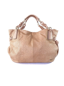 Coach nude Kristin python embossed tote 14754 - My Girlfriend's Wardrobe LLC