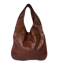 Adrienne Vittadini brown leather shoulder bag - My Girlfriend's Wardrobe LLC