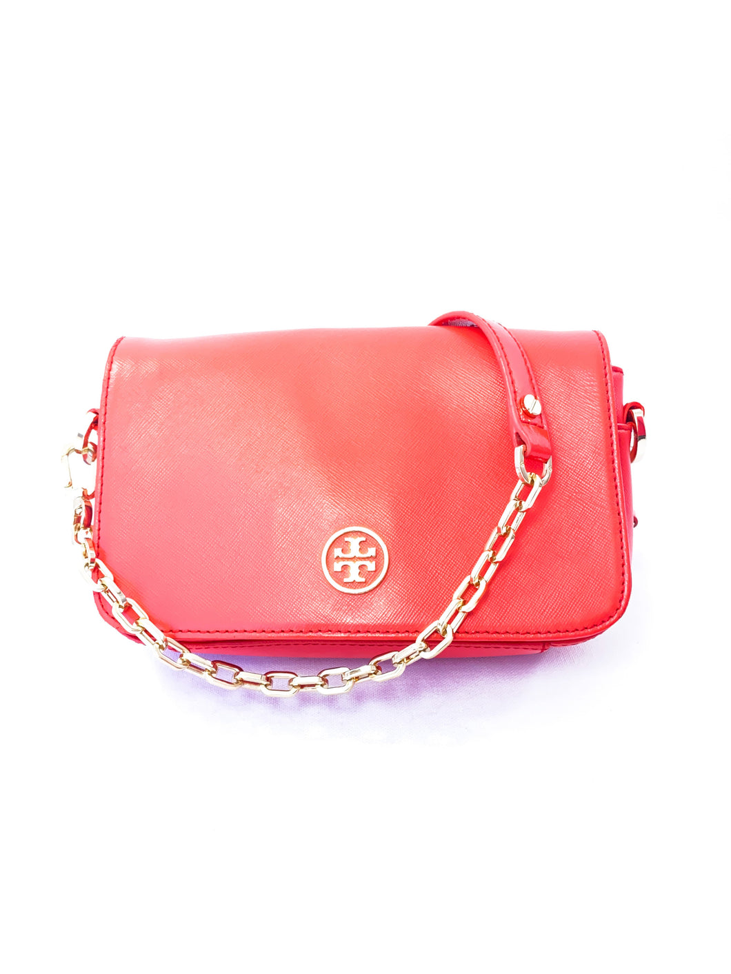Tory Burch red orange leather crossbody - My Girlfriend's Wardrobe York Pa