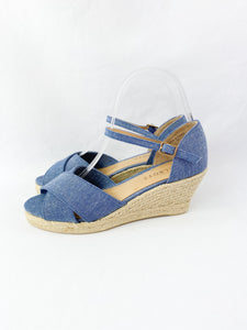 Talbots blue espadrille wedges size 7 NEW - My Girlfriend's Wardrobe York Pa