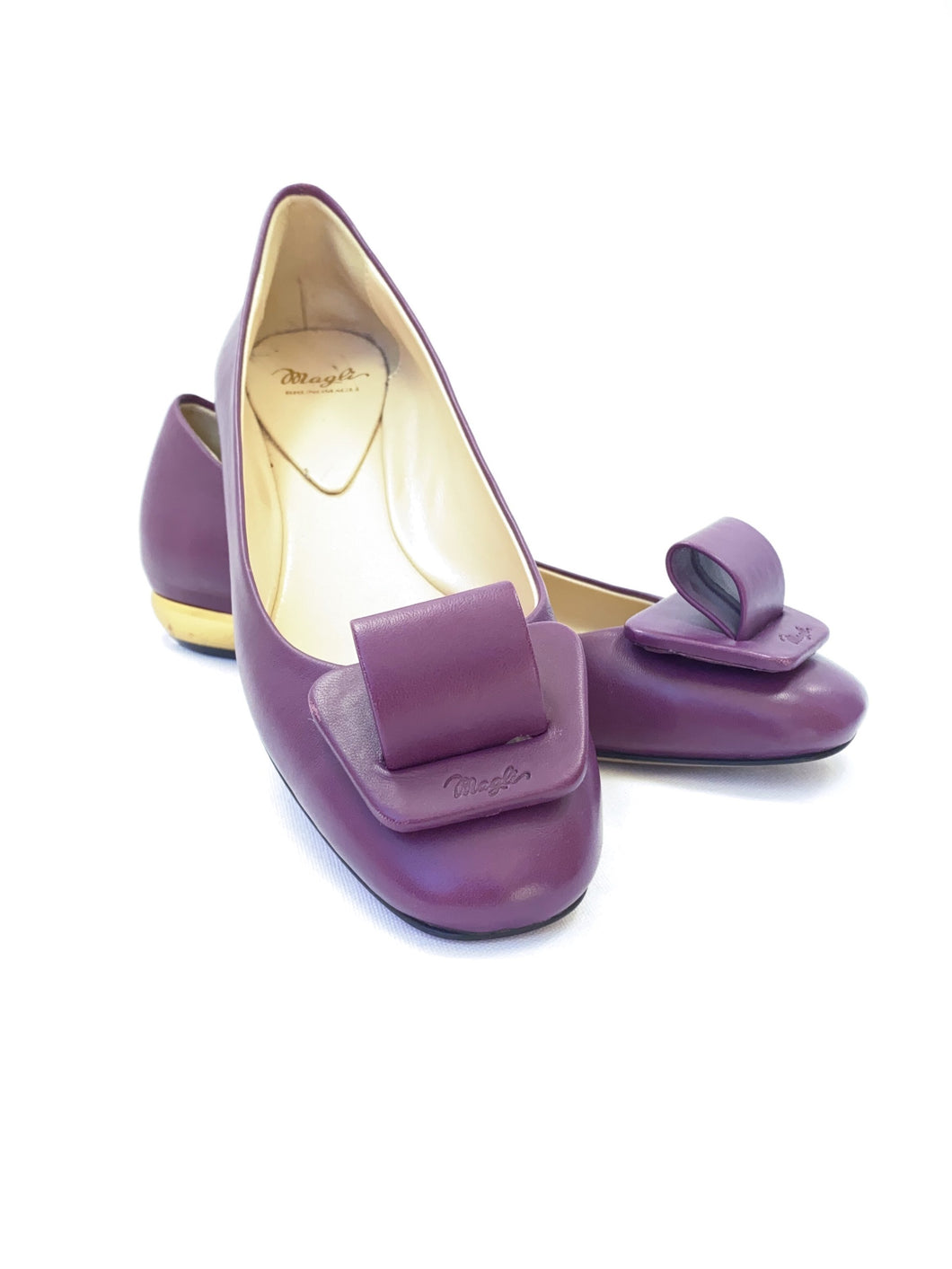 Bruno Magli emma purple leather flats size 37.5 - My Girlfriend's Wardrobe York Pa