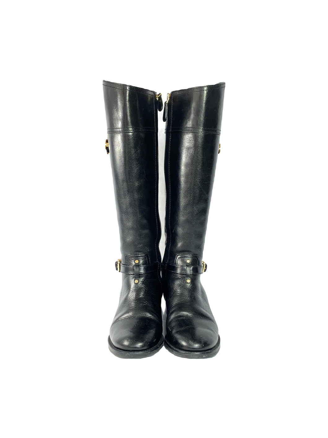 Tory Burch black leather tall boots size 7.5